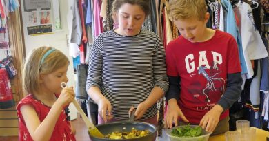 Kids adding ingredients and stirring