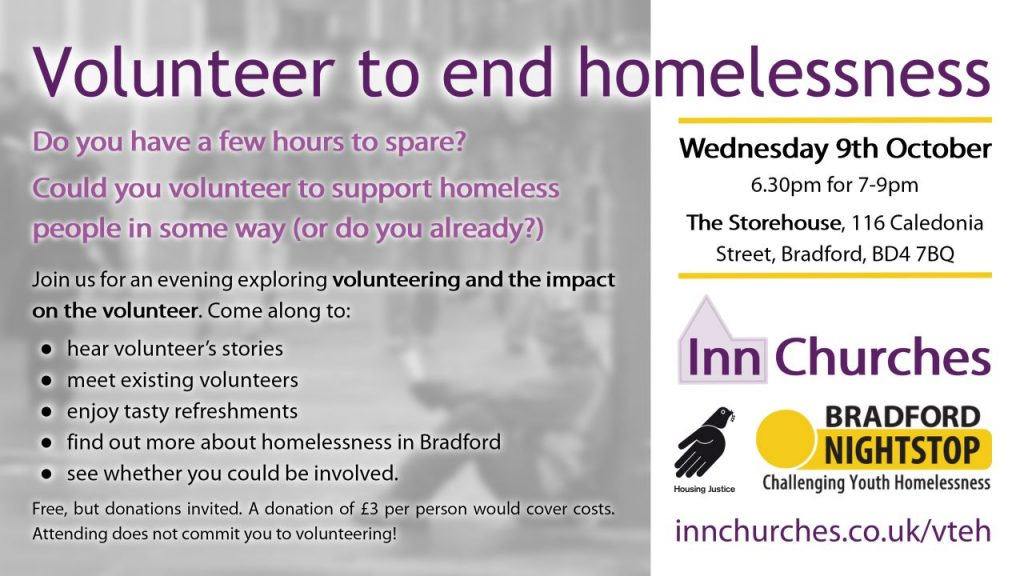 Volunteer to end homelessness - event flier