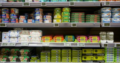 Tins of fish on supermarket shelves