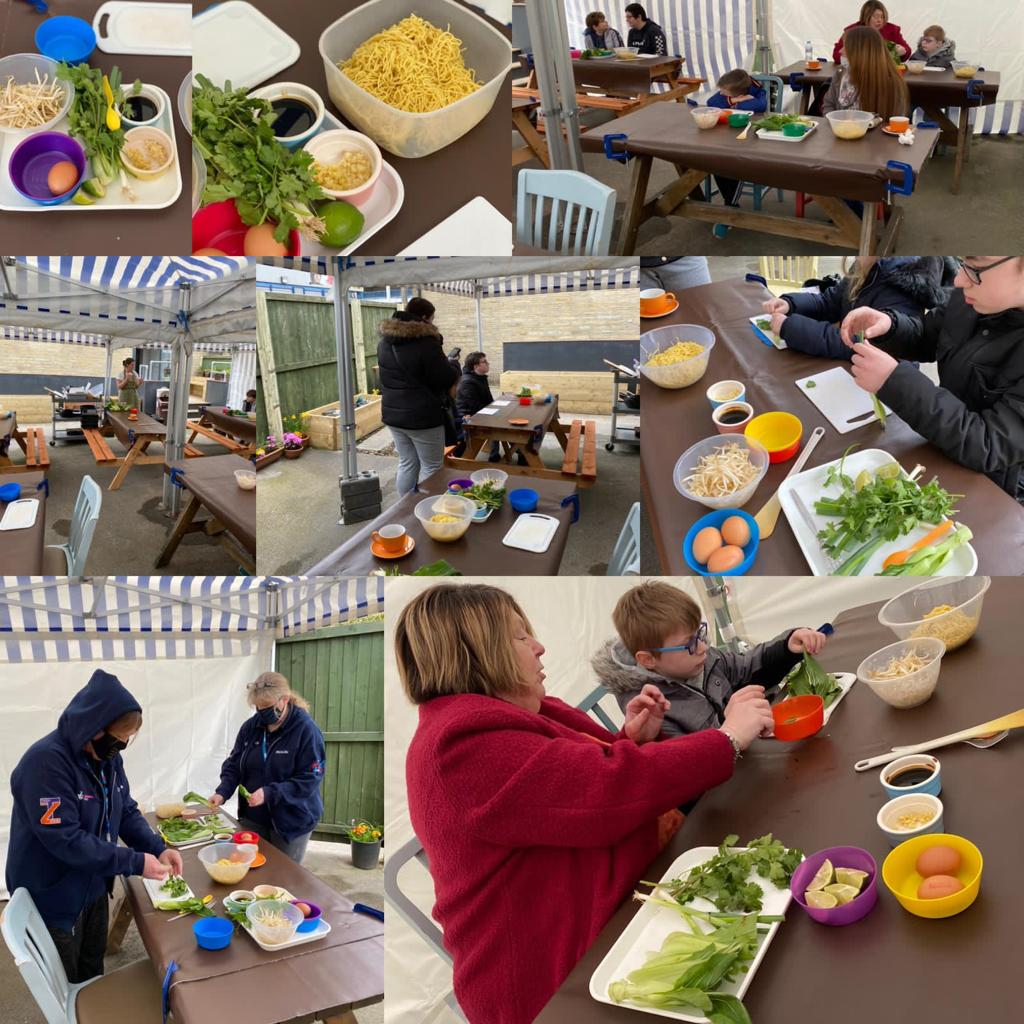 Montage of people cooking at Shaw House