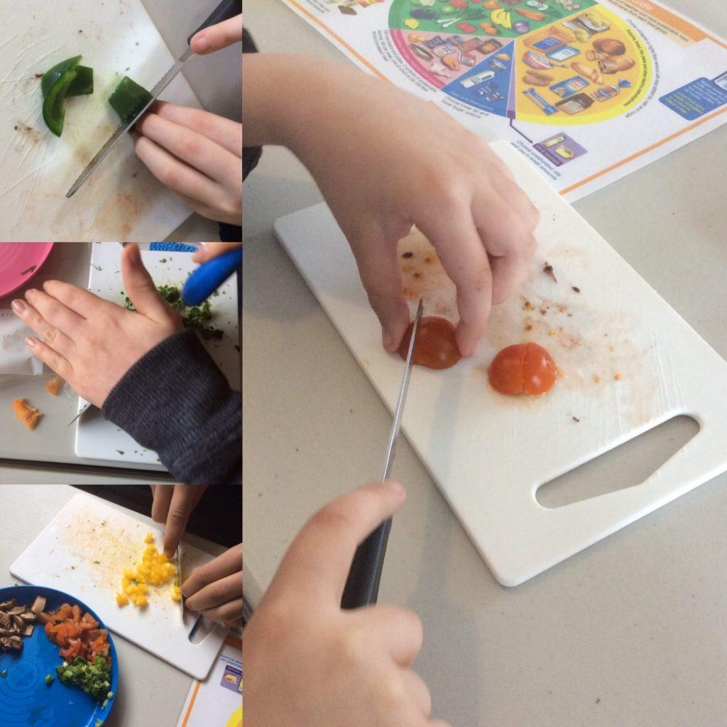 Montage of preparing ingredients