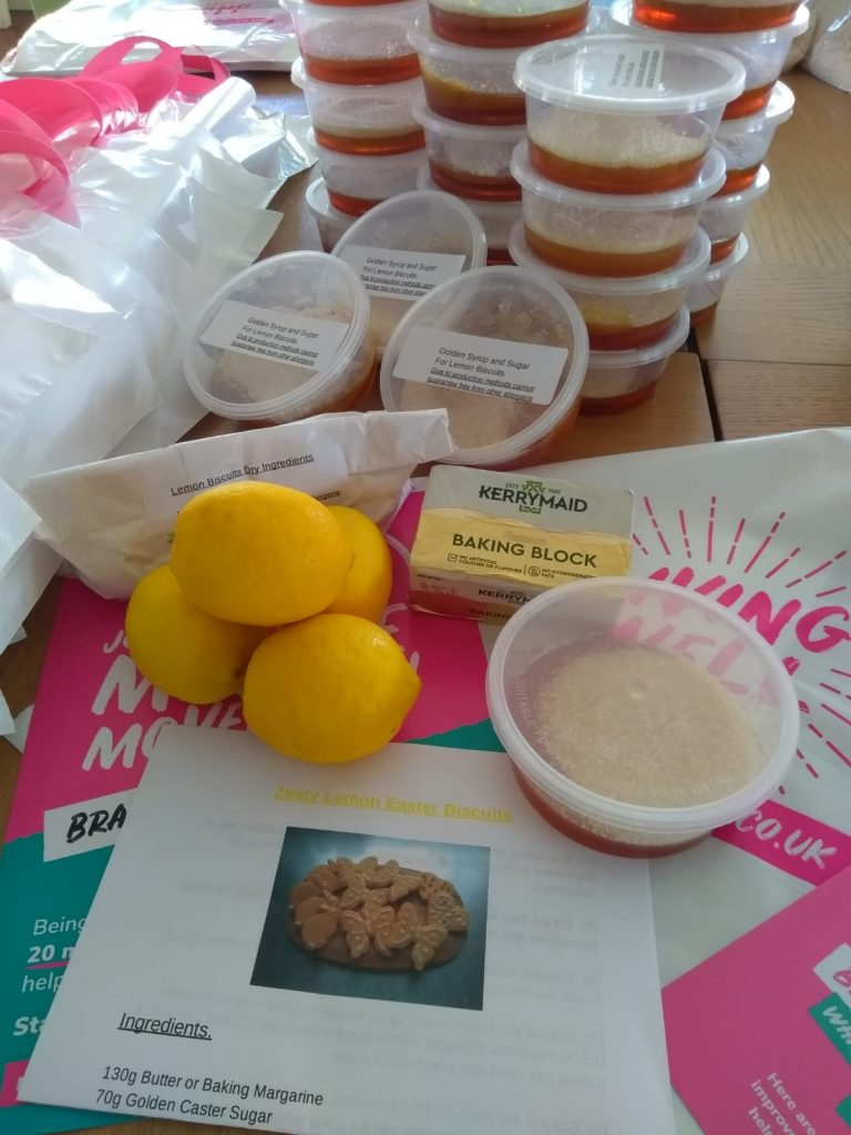 Recipe parcel with ingredients for lemon biscuits