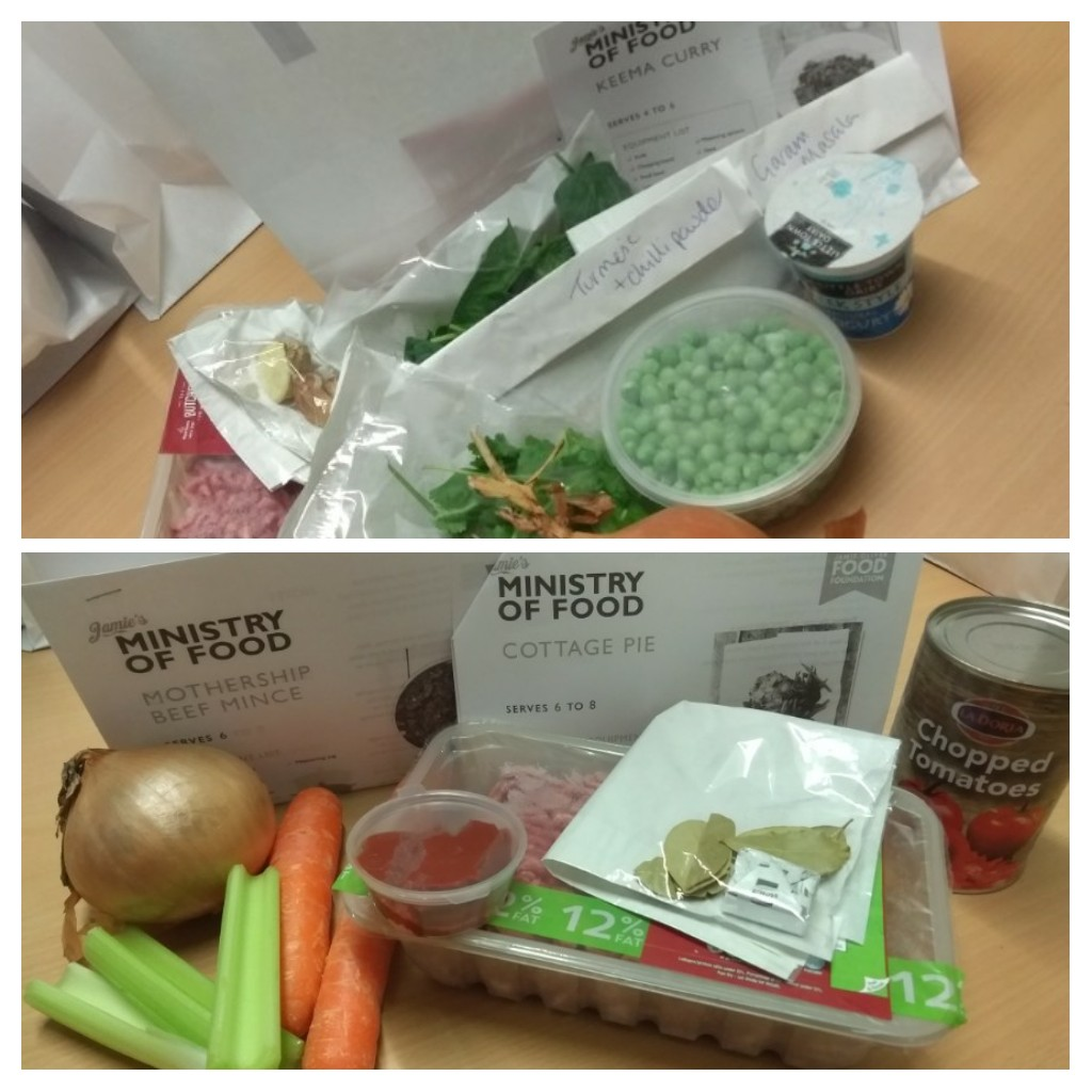 Recipe parcels for keema curry and shepherd's pie