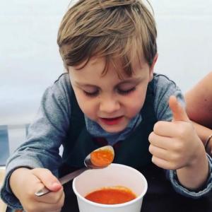Enjoying soup