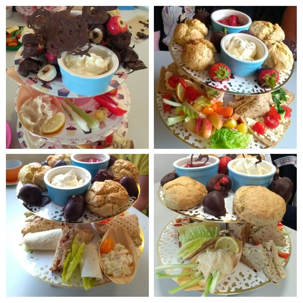 Collage of afternoon teas